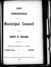 Cover of: Proceedings of the Municipal Council of the County of Welland |