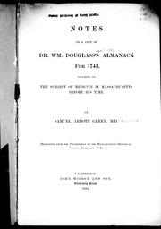 Cover of: Notes on a copy of Dr. Wm. Douglass's almanack for 1743