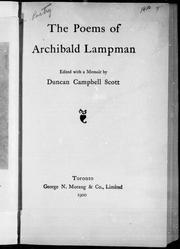 Cover of: The poems of Archibald Lampman |