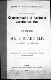 Cover of: Commonwealth of Australia constitution bill
