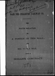 Cover of: Baie des Chaleurs Railway Co