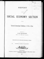 Cover of: Report on the social economy section of the Universal International Exposition of 1889 at Paris |