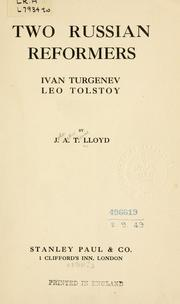 Cover of: Two Russian reformers, Ivan Turgeney, Leo Tolstoy