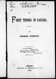 Cover of: Alphabet of first things in Canada