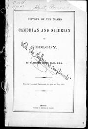 Cover of: History of the names Cambrian and Silurian in geology |