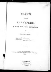 Cover of: Bacon versus Shakspere [sic], a plea for the defendant