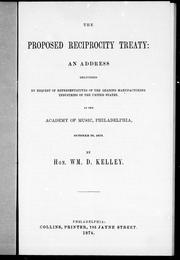 Cover of: The proposed reciprocity treaty
