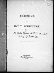 Cover of: Mis-readings of Holy Scripture | Hollingworth Tully Kingdon