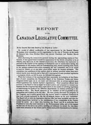 Cover of: Report of the Canadian Legislative Committee | Knights of Labor. Canadian Legislative Committee.