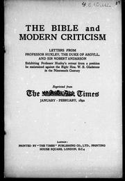 Cover of: The Bible and modern criticism