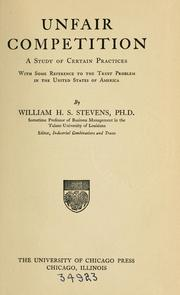 Cover of: Unfair competition | Stevens, William Harrison Spring
