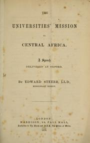 Cover of: The Universities' mission to Central Africa
