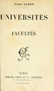 Cover of: Universités et facultés. --