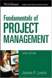 Cover of: Fundamentals of Project Management (Worksmart) | James P. Lewis