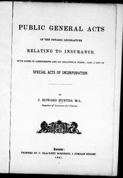 Cover of: Public general acts of the Ontario Legislature relating to insurance |