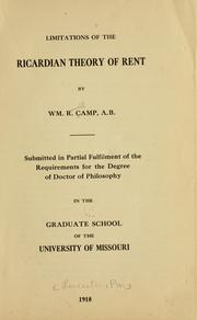 Cover of: Limitations of the Ricardian theory of rent