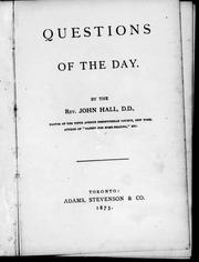 Cover of: Questions of the day |
