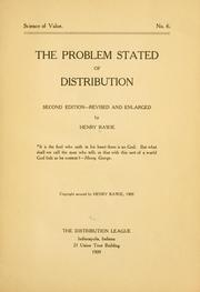 Cover of: The problem stated of distribution