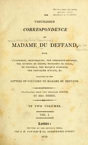 Cover of: The unpublished correspondence of Madame du Deffand