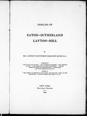Cover of: Families of Eaton-Sutherland, Layton-Hill