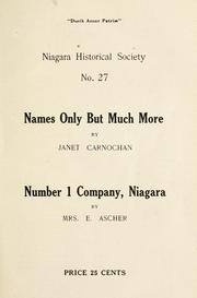 Cover of: Names only but much more | Janet Carnochan