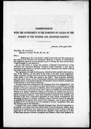 Cover of: Correspondence with the government of the Domionion of Canada on the subject of the Windsor and Annapolis Railway Company | Windsor and Annapolis Railway Company.