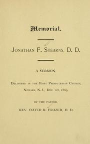 Cover of: Memorial Jonathan F. Stearns, D.D. | David R. Frazer
