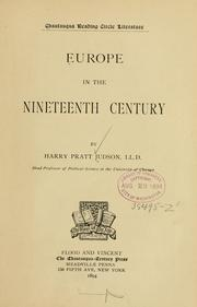 Cover of: Europe in the nineteenth century | Harry Pratt Judson