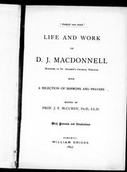 Cover of: Life and work of D.J. Macdonnell, minister of St. Andrew