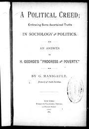 Cover of: A political creed by by G. Manigault.