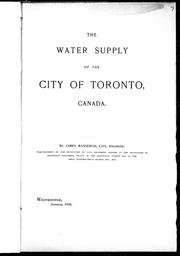 The water supply of the city of Toronto, Canada by James Mansergh