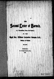 Cover of: The second letter of Baruch |