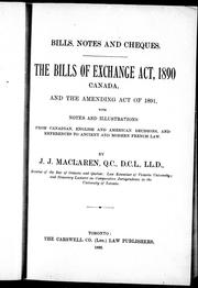 Cover of: The Bills of Exchange Act, 1890, Canada, and the Amending Act of 1891 |