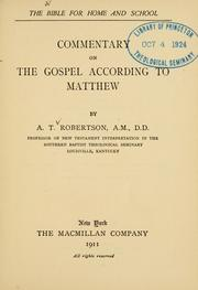 Cover of: Commentary on the Gospel according to Matthew