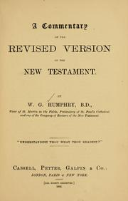 Cover of: A commentary on the revised version of the New Testament