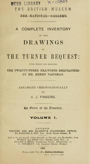 Cover of: A complete inventory of the drawings of the Turner bequest