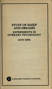 Cover of: Stuff of sleep and dreams