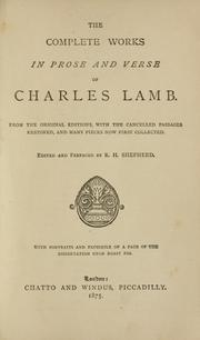 Cover of: The complete works in prose and verse of Charles Lamb