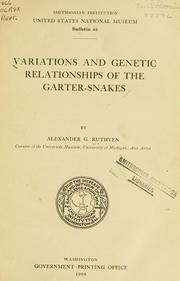 Variations and genetic relationships of the garter-snakes by Ruthven, Alexander Grant