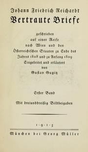 Cover of: Vertraute Briefe