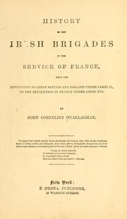 Cover of: History of the Irish brigades in the service of France | John Cornelius O'Callaghan
