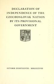 Cover of: Declaration of independence of the Czechoslovak nation | Czechoslovakia.