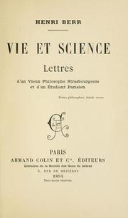 Cover of: Vie et science