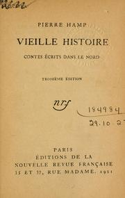 Cover of: Vieille histoire