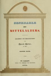 Cover of: Denkmahle des Mittelalters