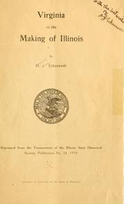 Cover of: Virginia in the making of Illinois