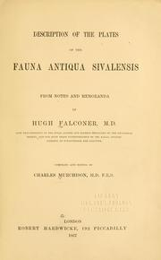 Cover of: Description of the plates of the Fauna antiqua sivalensis