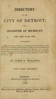 Cover of: Directory of city of Detroit by James H. Wellings