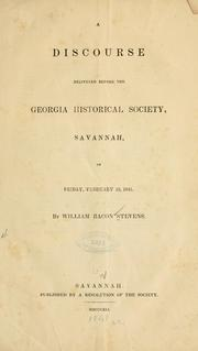 Cover of: A discourse delivered before the Georgia historical society
