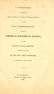 Cover of: A discourse pronounced at the Capitol of the United States